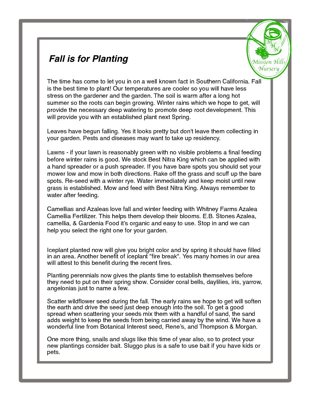 Fall Is For Planting Information